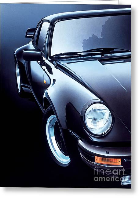 Black Porsche Turbo Greeting Card by Gavin Macloud