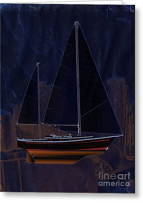Sailboat Art Greeting Cards - Black Princess Greeting Card by Regina Marie Gallant