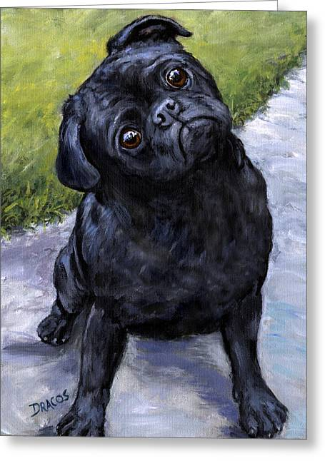 Black Pug In Park Greeting Card by Dottie Dracos