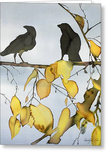 Silk Art Tapestries - Textiles Greeting Cards - Black Ravens In Birch Greeting Card by Carolyn Doe