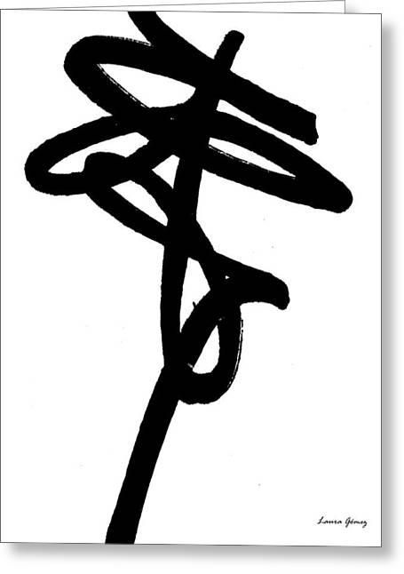 Black Ray -minimal Black And White Abstract By Laura Gomez - Vertical Format Greeting Card by Laura  Gomez