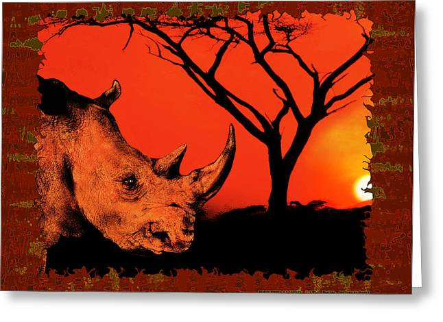 Rhinoceros Mixed Media Greeting Cards - Black Rhino at Sunset Greeting Card by Christopher Korte