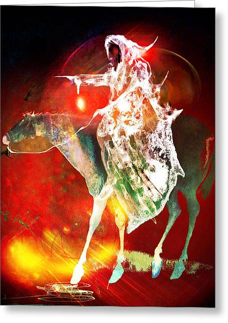 Dungeons Paintings Greeting Cards - Black rider I Greeting Card by Joe  Gilronan