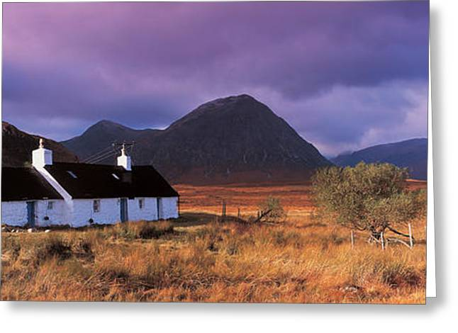 The Houses Greeting Cards - Black Rock Cottage White Corries Greeting Card by Panoramic Images