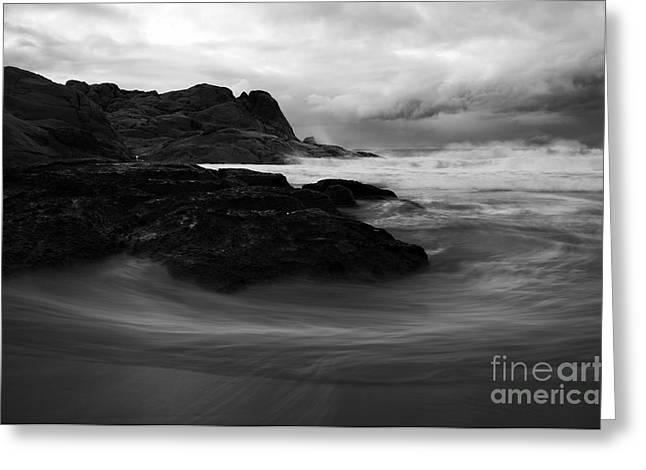 Fleurieu Peninsula Greeting Cards - Black Rock  Swirl Greeting Card by Mike  Dawson