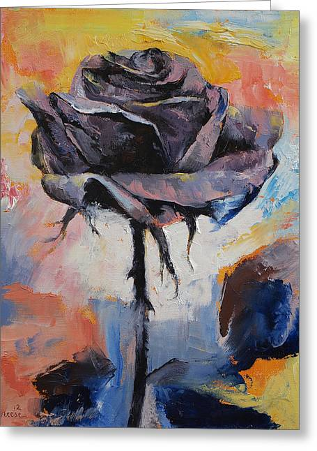 Black Rose Greeting Card by Michael Creese