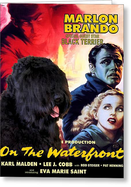 Lovers Art On Print Greeting Cards - Black Russian Terrier Art Canvas Print - On The Waterfront Movie Poster Greeting Card by Sandra Sij