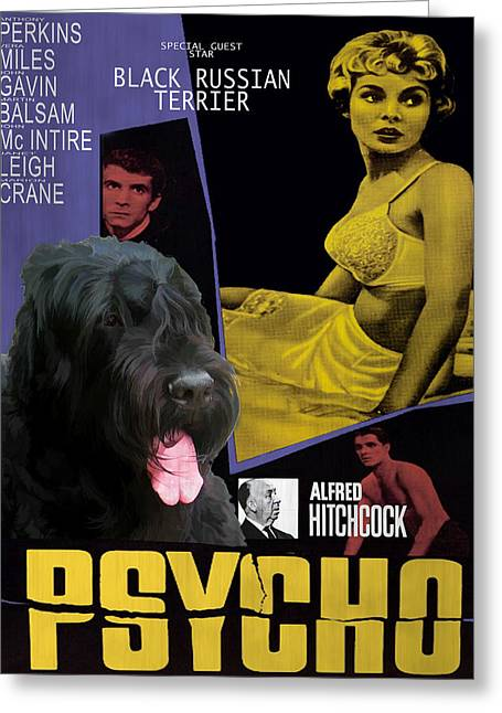 Black Russian Greeting Cards - Black Russian Terrier Art Canvas Print - Psycho Movie Poster Greeting Card by Sandra Sij