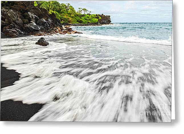 Movement. Blur Greeting Cards - Black Sand Tides Greeting Card by Jamie Pham