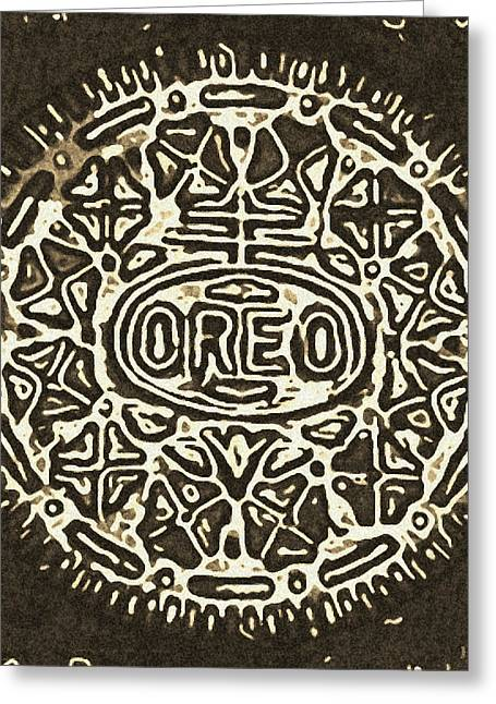Oreo Greeting Cards - Black Sepia Oreo Greeting Card by Rob Hans