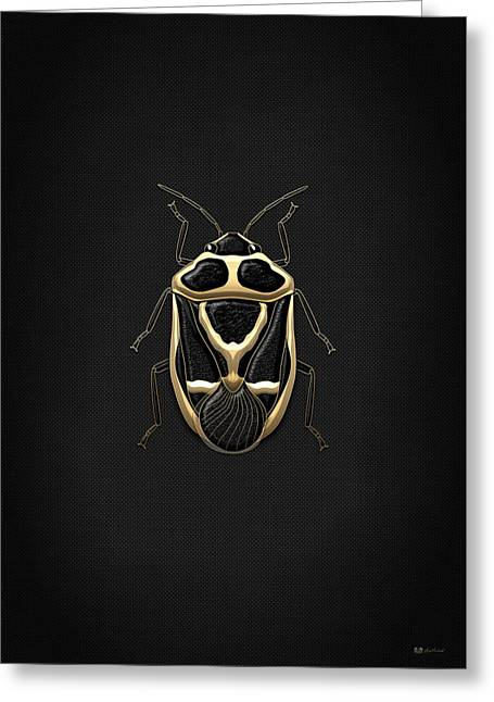 Ultra Modern Greeting Cards - Black Shieldbug with Gold Accents on Black Canvas Greeting Card by Serge Averbukh