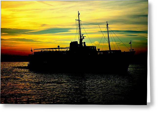 Istanbul Pyrography Greeting Cards - Black ship Greeting Card by Emrah  Duman