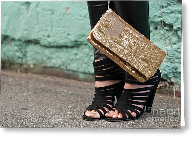 Sequins Greeting Cards - Black Shoes Gold Sequins Greeting Card by Rick Piper Photography