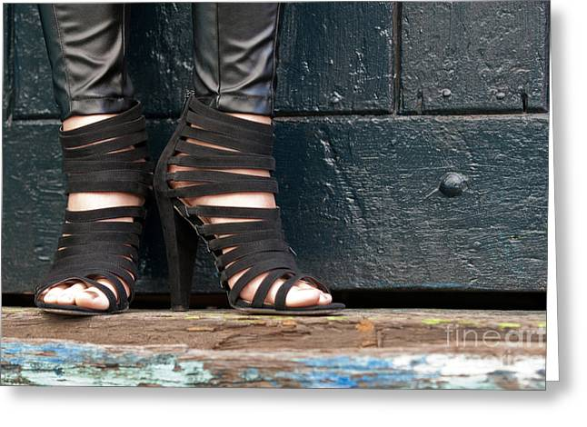 Leather Straps Greeting Cards - Black Shoes Greeting Card by Rick Piper Photography