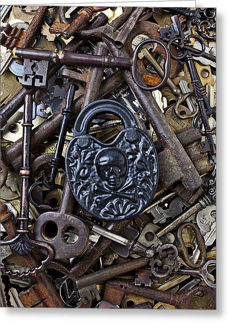 Crossbones Greeting Cards - Black skull and bones lock Greeting Card by Garry Gay