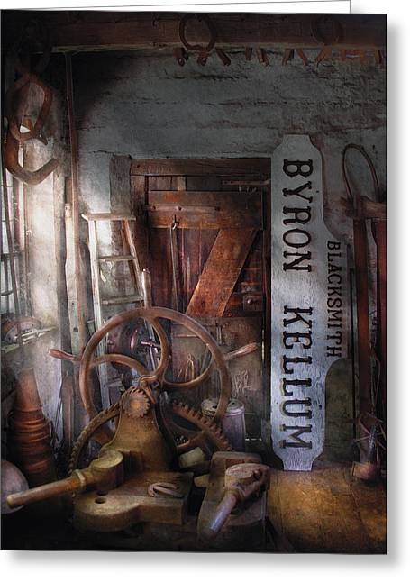 Black Smith - Byron Kellum Blacksmith Greeting Card by Mike Savad
