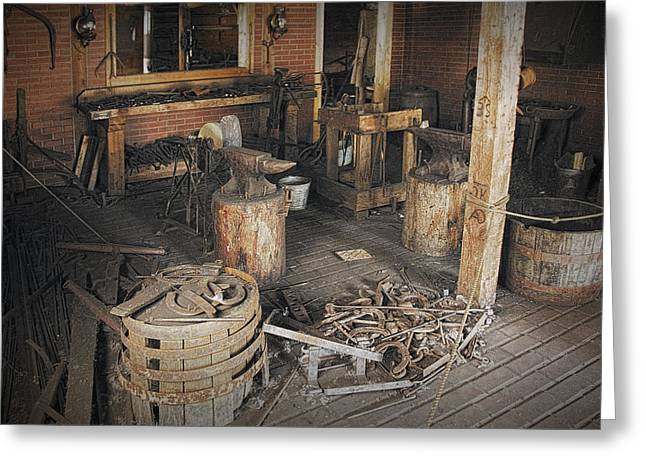 Edmonton Greeting Cards - Black Smith Shop in Fort Edmonton Greeting Card by Randall Nyhof