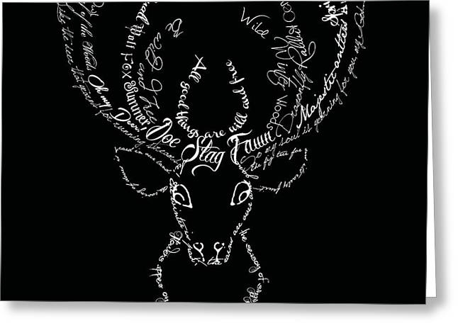 Words Greeting Cards - Black Stag Greeting Card by Marion De Lauzun