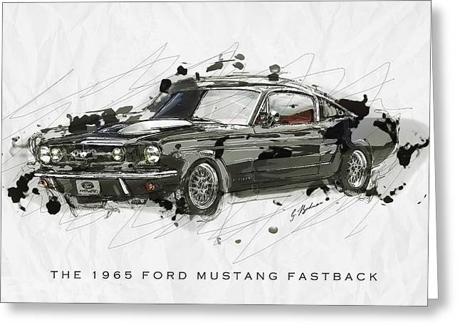 Black Car Greeting Cards - Black Stallion 1965 Ford Mustang Fastback #2 Greeting Card by Gary Bodnar