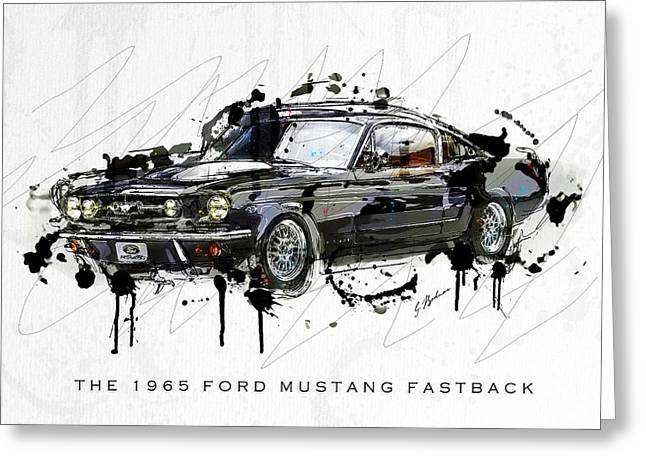 Fast Cars Greeting Cards - Black Stallion 1965 Ford Mustang Fastback #3 Greeting Card by Gary Bodnar