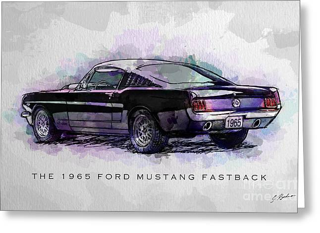 Ford Mustang Greeting Cards - Black Stallion 1965 Ford Mustang Fastback Greeting Card by Gary Bodnar