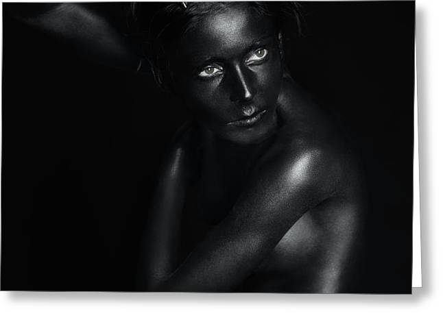 black statue with piercing eyes Greeting Card by Dan Comaniciu