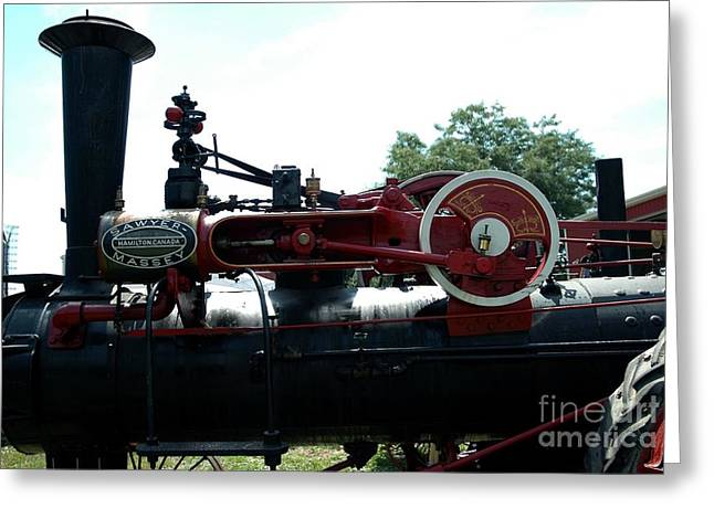 Struckle Greeting Cards - Black Steam Engine Greeting Card by Kathleen Struckle