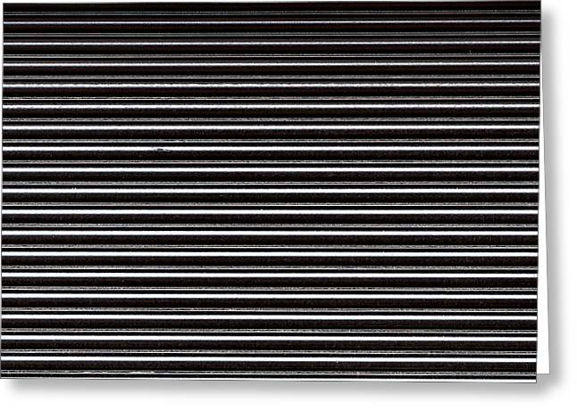 Stainless Steel Greeting Cards - Black Steel Shutters Greeting Card by Chay Bewley