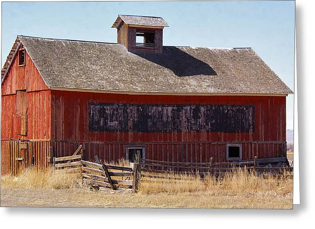 Old Western Photos Greeting Cards - Black Stripe Red Barn Greeting Card by Frankie Wilson