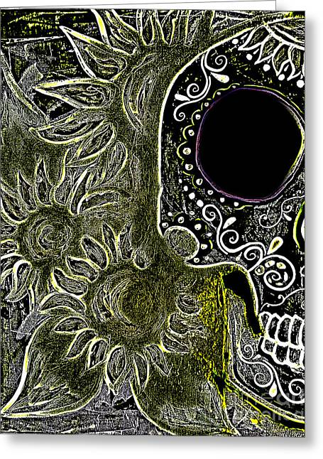 Marigold Festival Greeting Cards - Black Sunflower Skull Greeting Card by Lovejoy Creations