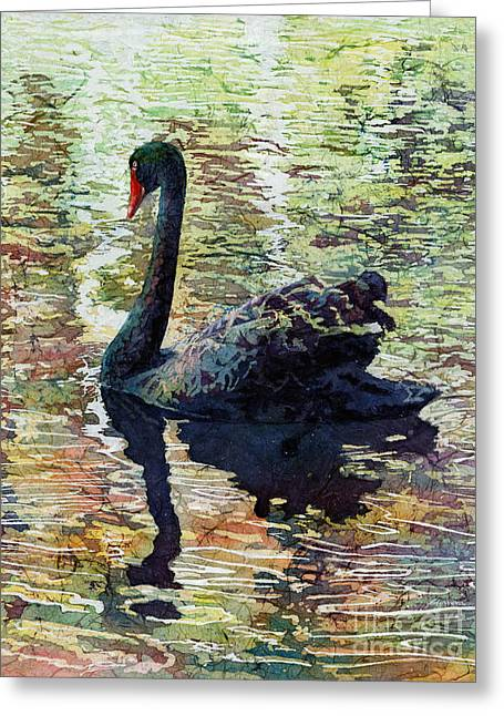 Black Swans Greeting Cards - Black Swan Greeting Card by Hailey E Herrera