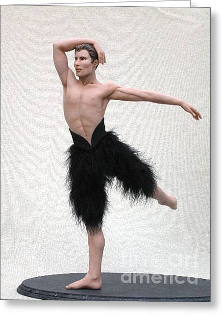 Dancer Art Sculptures Greeting Cards - Black Swan- male version Greeting Card by Vickie Arentz