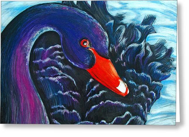Black Swan Greeting Card by Rene Capone