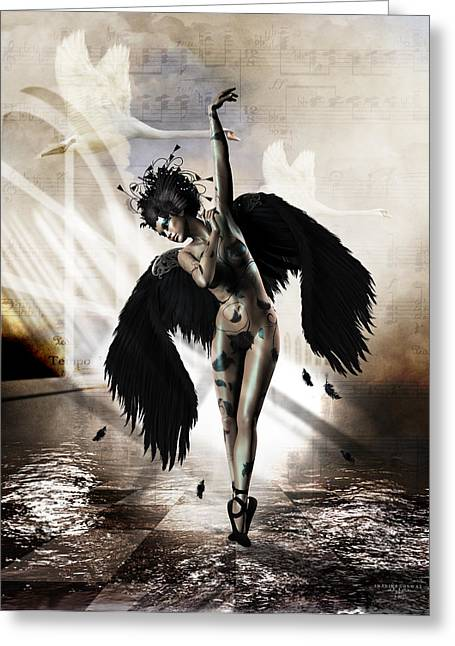 Swans... Digital Art Greeting Cards - Black Swan Greeting Card by Shanina Conway