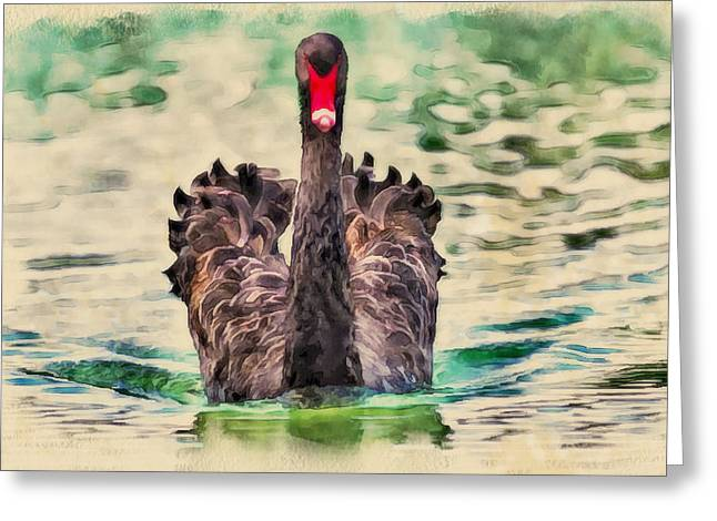 Swan Fantasy Art Greeting Cards - Black swan Greeting Card by Yury Malkov