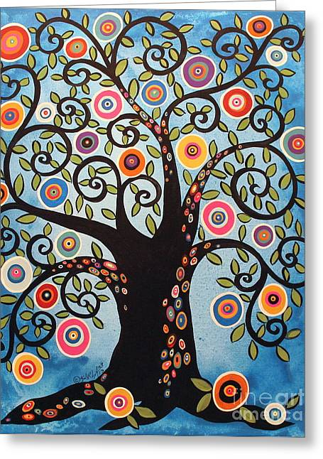Tree Art Greeting Cards - Black Swirl Tree Greeting Card by Karla Gerard