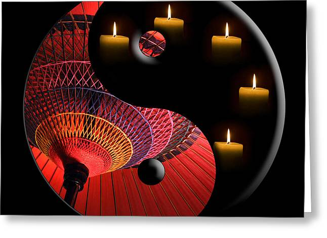 Yang Greeting Cards - Black Tao Greeting Card by Delphimages Photo Creations