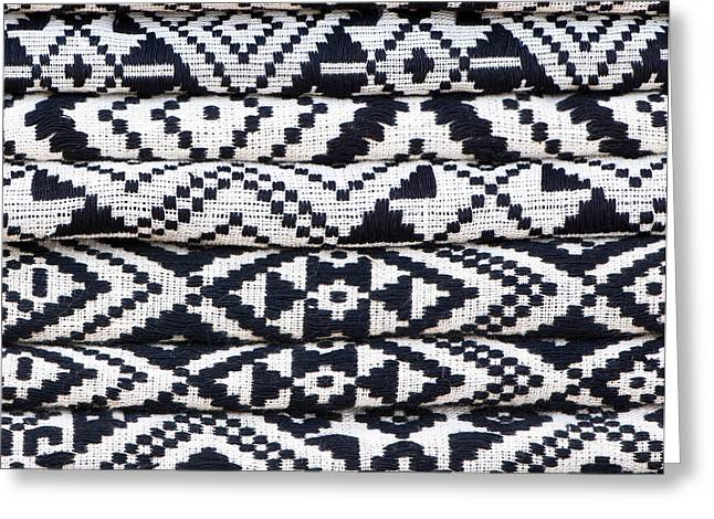 Ethnic Minority Greeting Cards - Black Thai Fabric 02 Greeting Card by Rick Piper Photography