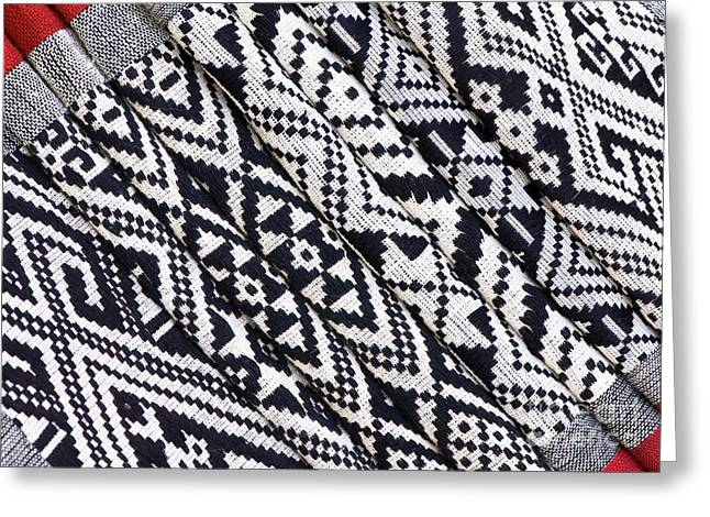Black Thai Fabric 03 Greeting Card by Rick Piper Photography