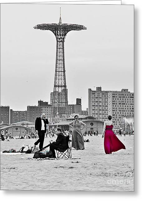 York Beach Greeting Cards - Black Tie Beach at Coney Island 2013 Greeting Card by Lilliana Mendez