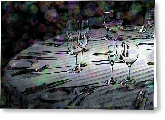 Dinner Party Invitation Greeting Cards - Black Tie Festivity Greeting Card by Lin Haring