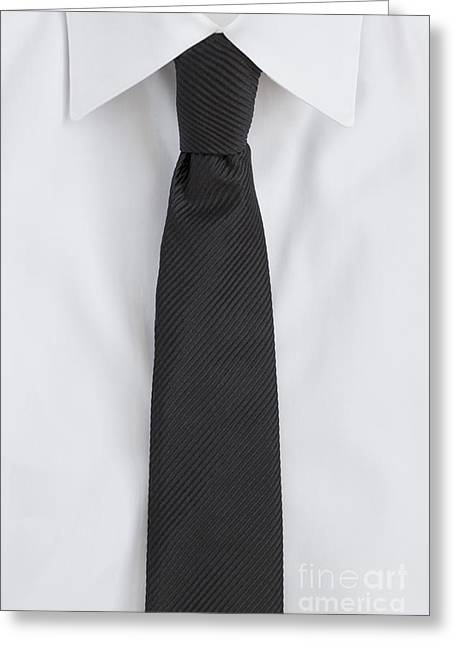Neck Tie Greeting Cards - Black Tie Greeting Card by Margie Hurwich