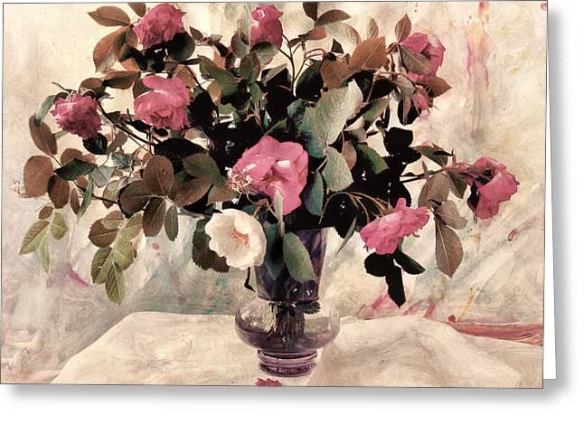 Floral Digital Art Greeting Cards - Black Tie Roses Greeting Card by Bernie  Lee