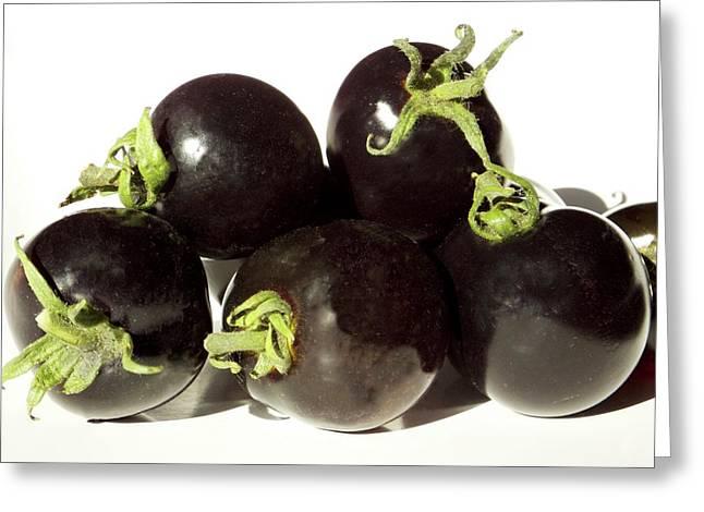 Black Tomatoes (indigo Rose) Greeting Card by Ian Gowland