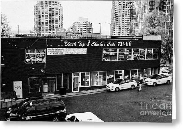 Black Top Greeting Cards - black top and checker cabs office Vancouver BC Canada Greeting Card by Joe Fox