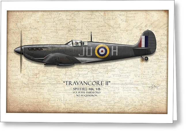 No 3 Greeting Cards - Black Travancore II Spitfire - Map Background Greeting Card by Craig Tinder