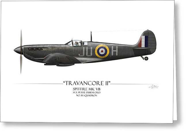 No 3 Greeting Cards - Black Travancore II Spitfire - White Background Greeting Card by Craig Tinder