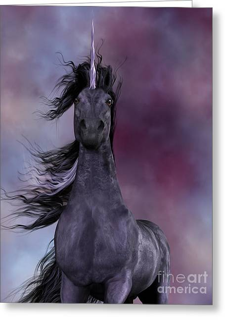 Fabled Greeting Cards - Black Unicorn Greeting Card by Corey Ford