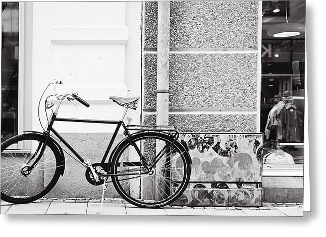 Vintage Bicycle Photographs Greeting Cards - Black Vintage Bicycle Greeting Card by Jimmy Karlsson