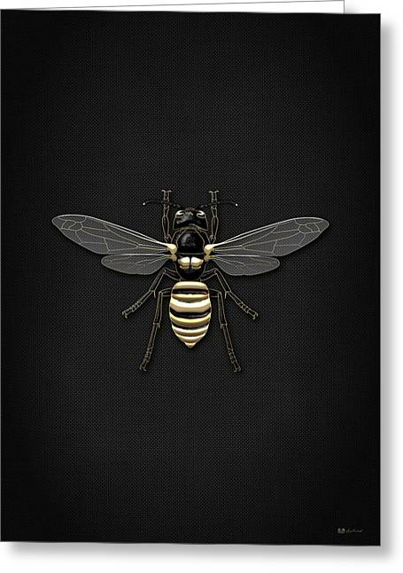 Vintage Accents Greeting Cards - Black Wasp with Gold Accents on Black Canvas Greeting Card by Serge Averbukh